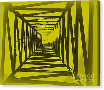 Canvas Print featuring the photograph Yellow Perspective by Clare Bevan