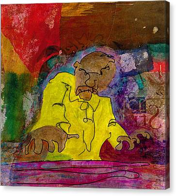 Canvas Print featuring the mixed media Yellow Piano Man by Catherine Redmayne