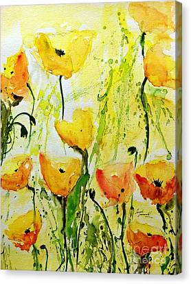 Yellow Poppys - Abstract Floral Painting Canvas Print by Ismeta Gruenwald