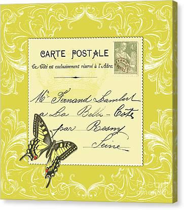 Yellow Postcard Canvas Print by Marion De Lauzun