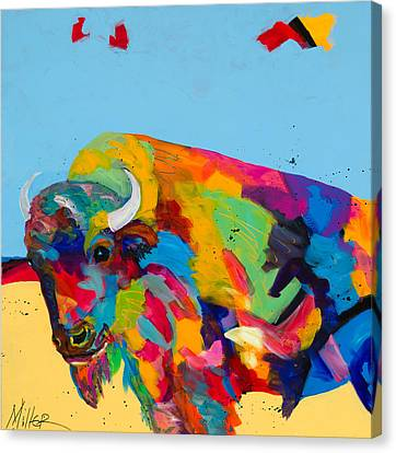 Yellow Prairie Blue Sky Canvas Print by Tracy Miller