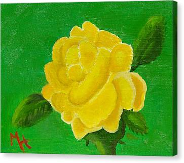 Canvas Print featuring the painting Yellow Rose Of Beta Sigma Phi by Margaret Harmon
