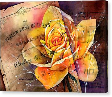 Yellow Rose Of Texas Canvas Print by Hailey E Herrera