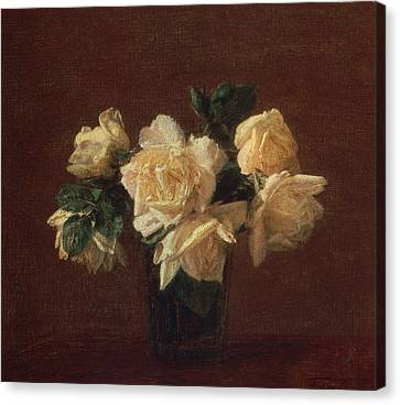 Yellow Roses Canvas Print by Ignace Henri Jean Fantin-Latour