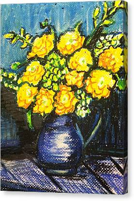 Yellow Roses In Blue Vase Canvas Print
