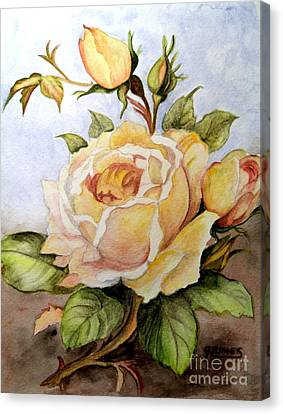 Yellow Roses In The Garden Canvas Print by Carol Grimes