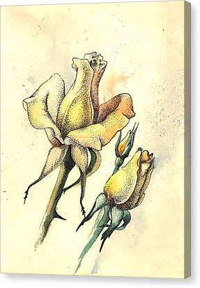 Yellow Roses In Watercolor And Stippling Canvas Print