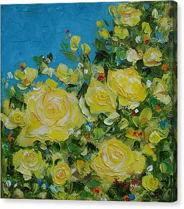 Yellow Roses Canvas Print by Judith Rhue
