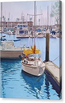 Yellow Sailboat Oceanside Canvas Print by Mary Helmreich