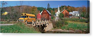 Yellow School Bus Crossing Wooden Canvas Print by Panoramic Images