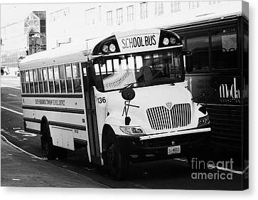 Yellow School Bus Parked By The Side Of The Road New York City Canvas Print by Joe Fox