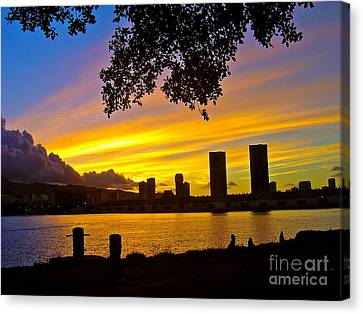 Yellow Skies Over Honolulu - No.2004 Canvas Print by Joe Finney