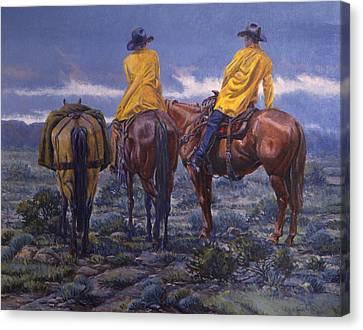 Yellow Slickers Canvas Print by Randy Follis