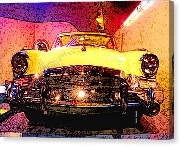 Yellow Studebaker Headlights Canvas Print by Design Turnpike