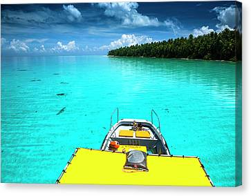 Yellow Sundeck Of A Boat In The Ant Canvas Print by Michael Runkel