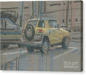 Canvas Print featuring the painting Yellow Suv by Donald Maier