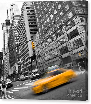 Yellow Taxi Nyc Canvas Print by Delphimages Photo Creations