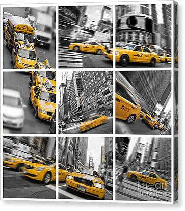 Yellow Taxis Collage Canvas Print by Delphimages Photo Creations