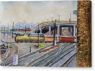 Yellow Train And San Francisco Skyline Canvas Print by Asha Carolyn Young