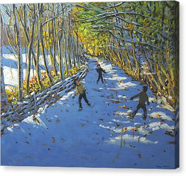 Yellow Trees  Allestree Park Canvas Print by Andrew Macara