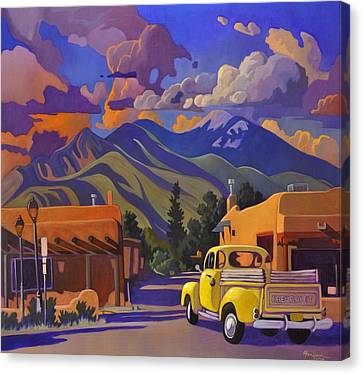 Canvas Print featuring the painting Yellow Truck by Art James West