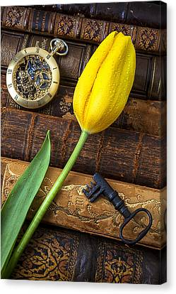 Yellow Tulip On Old Books Canvas Print by Garry Gay