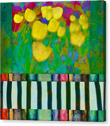 Yellow Tulips Abstract Art Canvas Print by Ann Powell