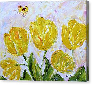 Yellow Tulips And Butterfly Canvas Print