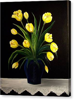 Yellow Tulips And White Eyelet Canvas Print by Peggy Miller