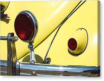 Yellow Vw Beetle And Red Lights Canvas Print by Studio Janney
