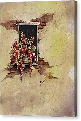 Yellow Wall With Red Flowers Canvas Print by Sam Sidders