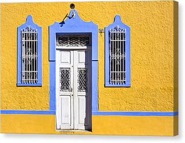 Yellow Walls And Moorish Architecture In Mexico Canvas Print by Mark E Tisdale