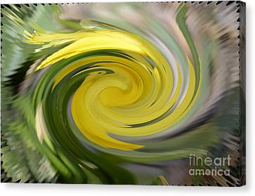 Canvas Print featuring the digital art Yellow Whirlpool by Luther Fine Art