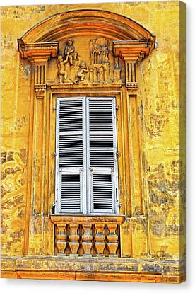 Canvas Print featuring the photograph Yellow Window Nice France by Dave Mills