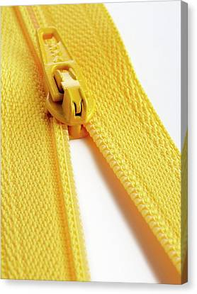 Yellow Zip Canvas Print by Science Photo Library