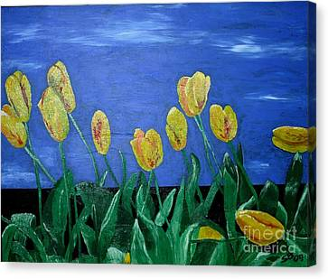 Yellowred Tulips Canvas Print by Susanne Baumann