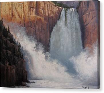 Yellowstone Falls Thunder Canvas Print by Mar Evers