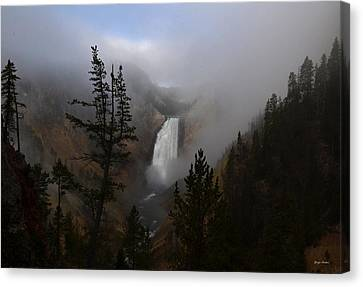 Yellowstone - Lower Falls At Sunrise Canvas Print by George Bostian
