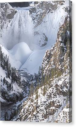 Yellowstone -  Lower Falls In Winter Canvas Print by Sandra Bronstein