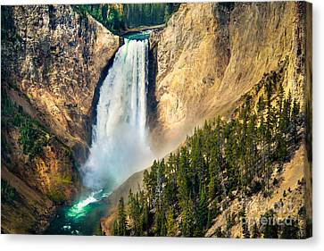 Haybale Canvas Print - Yellowstone Lower Waterfalls by Robert Bales