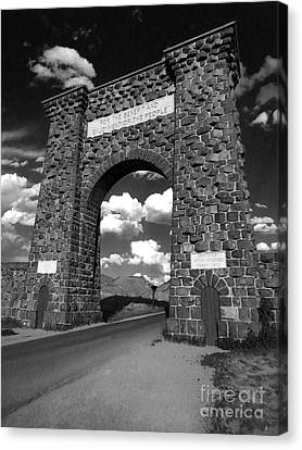 Yellowstone National Park Gate - Black And White Canvas Print by Gregory Dyer