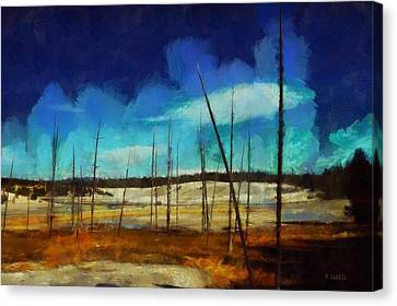 Canvas Print featuring the digital art Yellowstone National Park by Kai Saarto