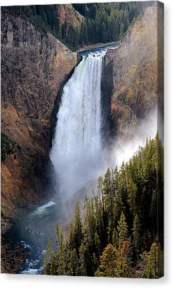 Canvas Print featuring the photograph Lower Yellowstone Falls by Athena Mckinzie