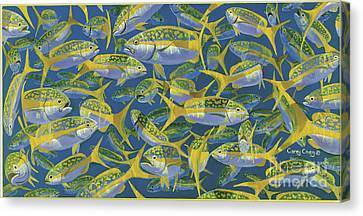 Yellowtail Frenzy In0023 Canvas Print by Carey Chen