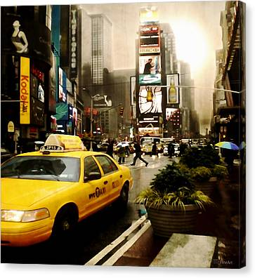 Yelow Cab At Time Square New York Canvas Print