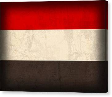 Middle East Canvas Print - Yemen Flag Distressed Vintage Finish by Design Turnpike