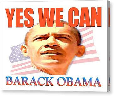 Yes We Can - Barack Obama Poster Art Canvas Print by Art America Gallery Peter Potter