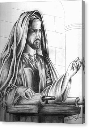 Yeshua In The Temple Canvas Print by Marvin Barham