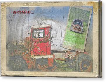 Canvas Print featuring the photograph Yesterday Trucks Postcard by Larry Bishop