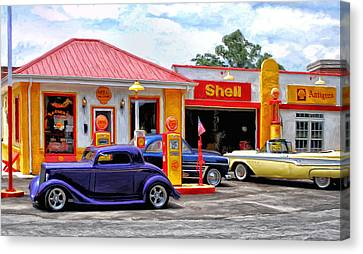 Yesterday's Shell Station Canvas Print by Michael Pickett